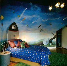 Space theme boy's bedroom