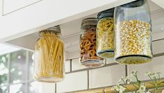 10 Space Saving Hacks for Your Tiny Kitchen - Attach mason jars under cabinets Small Kitchen Storage, Small Space Storage, Kitchen Organization, Organization Ideas, Kitchen Small, Space Saving Kitchen, Compact Kitchen, Space Saving Shelves, Kitchen Hacks