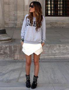 Shop this look on Kaleidoscope (sweatshirt, skirt, bootie)  http://kalei.do/WrX3QlwAQs0Pj0xg