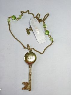 "NWT GP carved FILIGREE locket KEY shape PENDANT rope chain 22"" green beads  | eBay"