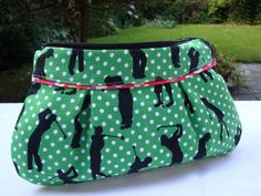 Multi Purpose Cotton  Zipper Pouch - padded - golf print- cosmetic - pens. £7.00