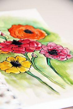 alisaburke: a peek inside my sketchbook Watercolor Flowers, Watercolor Paintings, Watercolors, Homemade Art, Floral Drawing, Flower Doodles, Art Sketchbook, Art Techniques, Deco