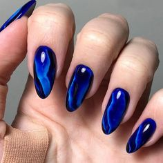 This article is meant for those who want to know more about the cobalt blue color. We prepared for you a lot of useful ideas of how to add this color to your life. Long Nail Designs, Colorful Nail Designs, Beautiful Nail Designs, Nail Art Designs, Cute Nails, Pretty Nails, Hair And Nails, My Nails, Cobalt Blue Nails