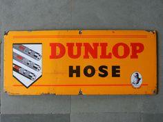 Rare Vintage 'Dunlop Hose' G.B Dunlop Trademark Porcelain Enamel Sign Board