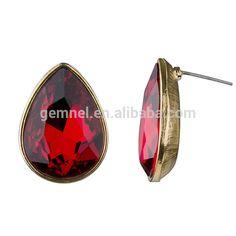 Source Copper Pear Drop Cut Simulated Ruby Stud Earrings, large earrings on m.alibaba.com