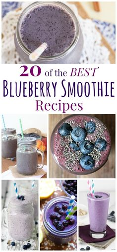 Over 20 of The Best Blueberry Smoothie Recipes - pick up a bag of frozen blueberries or pull out some that you saved from summer's bumper crop to make one of these blueberry smoothies for breakfast or a healthy snack. Frozen Fruit Smoothie, Yogurt Smoothies, Apple Smoothies, Healthy Smoothies, Healthy Drinks, Frozen Blueberry Recipes, Blueberry Juice, Fruit Recipes, Cucina