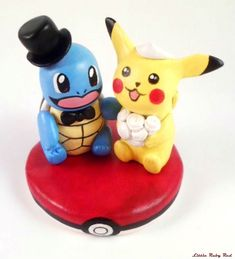 Pokemon Cake Toppers | !' Squirtle and Pikachu custom made Pokemon wedding cake topper ...