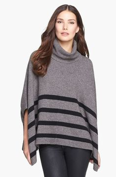 Black Stripe Turtleneck Poncho.