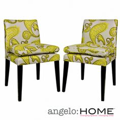 angelo:HOME Marnie Modern Lemongrass Paisley Upholstered Dining Chairs (Set of 2) | Overstock.com Shopping - Great Deals on ANGELOHOME Dining Chairs
