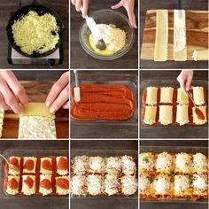 Zucchini Lasagna Roll Ups - this graphic shows all the key steps for making zucchini lasagna roll ups