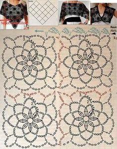 Wonderful Crochet a Puff Flower Ideas Crochet Tablecloth Pattern, Crochet Motif Patterns, Crochet Diagram, Crochet Chart, Crochet Squares, Love Crochet, Crochet Lace, Stitch Patterns, Knitting Patterns