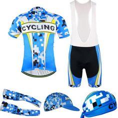 Men's Blue Short Sleeve Cycling Jersey Full Set #Cycling #CyclingGear #CyclingJersey #CyclingJerseySet