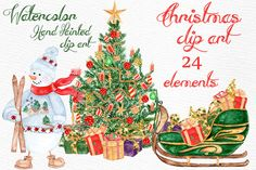 Watercolor Christmas clipart by LeCoqDesign on @creativemarket