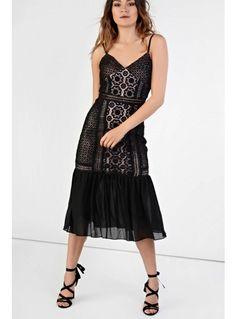 Glamorous black lace drop waist bodycon dress