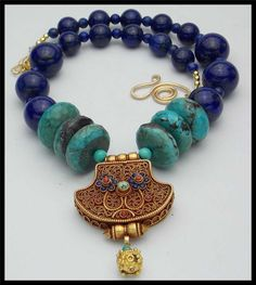 JAIPUR - Natural Turquoise - Lapis - Handmade GP Tibetan Ghau Amulet - 1 of a Kind Necklace by sandrawebsterjewelry on Etsy