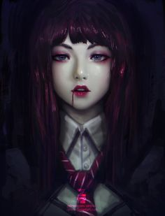 Anime picture with original paul (shiramune) long hair single tall image looking at viewer blue eyes black hair fringe pink hair signed lips teeth eyebrows eyelashes realistic upper body lipstick eyeshadow red lipstick Art Goth, Character Art, Character Design, Beautiful Anime Girl, Portrait, Dark Art, Amazing Art, Illustrators, Fantasy Art