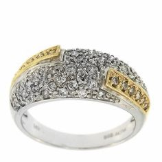 0.80  Cttw F VS Round Diamonds Fancy Cocktail Ring in 14K Two Tone Gold by GetDiamondsDirect on Etsy