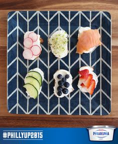Top thinly sliced baguette with Light Cream Cheese and other favourites for an eye-popping hors d'oeuvres platter