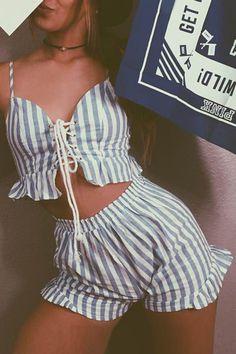 Lace Up Crop + Shorts