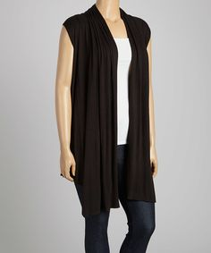Another great find on #zulily! Black Open Vest - Plus by Poliana Plus #zulilyfinds