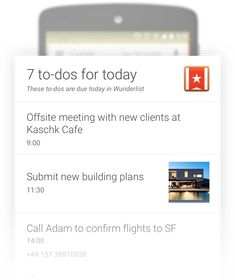 See what to-dos are due today in a flash with Wunderlist Now Cards for Google app.