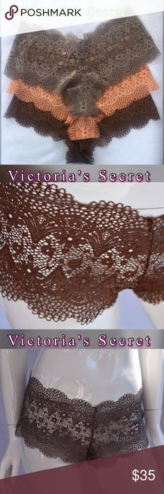 Victoria's Secret 3  panties New with tag BODY BY VICTORIA The Crochet Lace Sexy Shortie.Short, sweet and so boho: allover crochet plays up an unbelievably comfy shape.  • Allover crochet lace • Mid rise • Full back coverage: shows curves, not skin  • Imported nylon/spandex Victoria's Secret Intimates & Sleepwear Panties