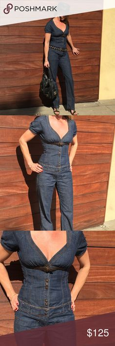 Italian Denim Jumpsuit by MISS SIXTY This denim jumpsuit is a rare find. In really great shape. Made in Italy. Fabulous details. Shown with a belt, hat, shoes and bag all sold separately. Miss Sixty Jeans