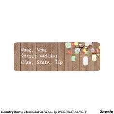 Country Rustic Mason Jar on Wood Address Label