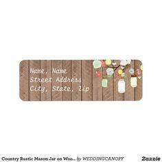 Country Rustic Mason Jar on Wood Address Label