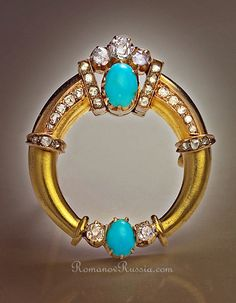 Antique Imperial Russian Gold, Diamond and Turquoise Brooch, circa 1890, St. Petersburg,     in the form of a stylized ancient torque (neck ring) from the European Iron age (c. 8th century BC - 3rd century AD),  set with 3 old
