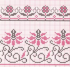 Flores bicolores Cat Cross Stitches, Cross Stitch Borders, Cross Stitch Samplers, Cross Stitch Flowers, Cross Stitch Designs, Cross Stitching, Cross Stitch Embroidery, Embroidery Patterns, Hand Embroidery