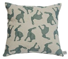 Hand printed grey blue leaping hare cushion by MeganFergusonSmyth, £52.00