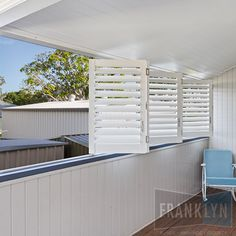 We offer Aluminium Shutters in sizes and colours to suit your home. At Franklyn, we can also custom design our shutters to fit any specific requirements. Balcony Design, Enclosed Gazebo, Outdoor Room Decor, Outdoor Shutters, Exterior Blinds, Outdoor Rooms, House, Shutters Exterior, Outdoor Blinds