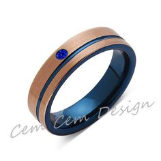 6mm,Blue Sapphire,Brushed Rose Gold and Blue,Tungsten Ring,Mens Wedding Band,Blue Mens Ring,Comfort Fit
