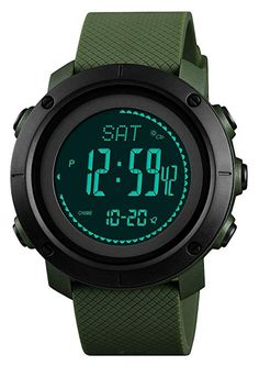 78da3f08f1b1 Amazon.com  Rubber Strap Mens Watch Multifunction Sport Watch Green Silver   Watches