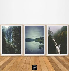 Foggy set of 3 prints misty forest lake river fall trees mountain piece print fir spruce tree canvas poster wall art digital office decor hd