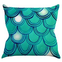 Kess InHouse Theresa Giolzetti Mermaid and Dragon Tail Indoor / Outdoor Throw Pillow