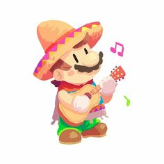 Super Mario Odyssey - Mexican Mario Can't wait to use this outfit for the entire game Super Mario Brothers, Super Mario Bros, Super Mario Games, Super Smash Bros, Nintendo Characters, Video Game Characters, Fan Art Mario, Mario Kart, Illustrations