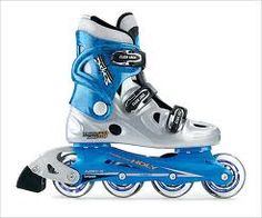 blue and gray roller blades
