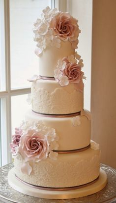 Gorgeous Lace Wedding Cakes - Belle the Magazine . The Wedding Blog For The Sophisticated Bride #laceweddingcakes
