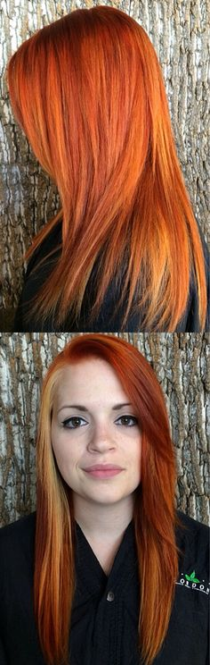 Intense copper (burnt orange) and blonde balayage and panels. Perfect fall haircolor! All done with aveda haircolor by wilmette's professional stylist Alexis