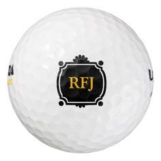 #monogrammed - #Black and Gold Monogram Golf Balls