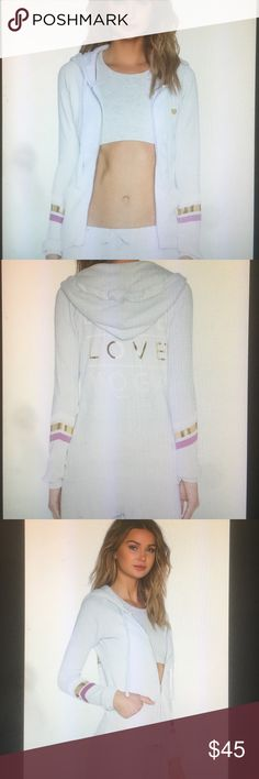 Spiritual Gangster Peace Love Yoga Stacked Hoodie Color Frost, 50% poly 37% cotton, 13% rayon, front zipper closure, attached hood, side pockets, graphic print throughout, Spiritual Gangster Sweaters