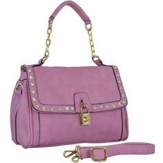MG Collection QIANA Lavender Leatherette Rhinestone Studded Satchel Shoulder Bag. A beautiful golden padlock turn lock is unique and functional. This glamorous bag comes with a removable adjustable black leatherette shoulder strap for the option to easily switch styles. The exterior side zipper pocket offers easy access to essential items. The roomy interior also has 1 zippered pocket and 2 slip pockets lined inside for optimal organization. **Official MG Collection® product by MyGift®**....