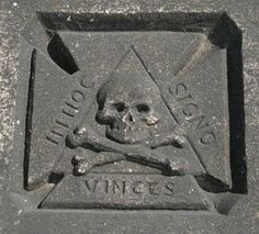 """Masonic/Knights Templar grave carving Rosehill Cemetery, Chicago. Maltese Cross. In hoc signo vinces, Latin rendering of the Greek phrase """"ἐν τούτῳ νίκα"""" en touto nika, """"in this sign you will conquer."""""""