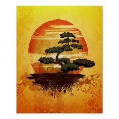 Japanese Bonsai Tree Sunset Posters