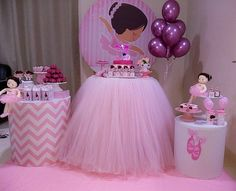 No photo description available. Ballerina Birthday Parties, Cinderella Birthday, Girl Birthday Themes, Birthday Design, Birthday Tutu, Princess Birthday, First Birthday Parties, Balloon Decorations, Birthday Party Decorations