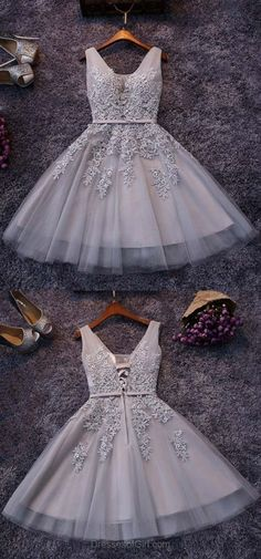 Elegant V-neck Light Gray Short Prom Dress, Sweet Mini Lace Appliques Pearl Tulle Prom Dress Prom Dresses Short Prom Dresses Appliques Prom Dresses V Neck Prom Dresses Prom Dresses Lace Short Homecoming Dresses Elegant Homecoming Dresses, Mermaid Prom Dresses Lace, Prom Dresses For Teens, V Neck Prom Dresses, Dresses Short, Prom Dresses 2018, Tulle Prom Dress, Lace Evening Dresses, Cheap Dresses