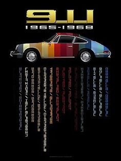 1968 Porsche Nurburgring #3 Vintage Car Poster Print Wall Art Sign Auto Garage