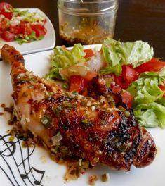 Recette simple typique des Antilles : le poulet mariné grillé et sa sauce chien